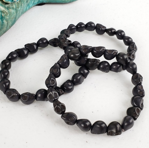 Magen's Fairytale Creations Jewelry - 3/$20Just Like Candy Black Stone Skull Bracelet